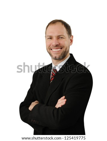 Confident smiling business man isolated on white background