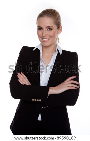 Confident Smiling Businesswoman Arms Crossed standing on white, studio - stock photo