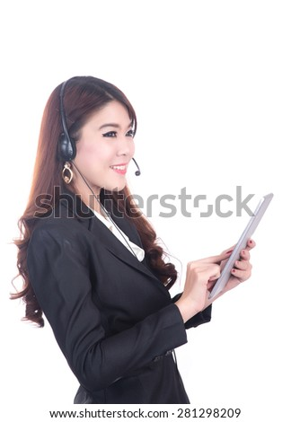 confident , smiling smart operater business woman , concept using computer tablet - stock photo