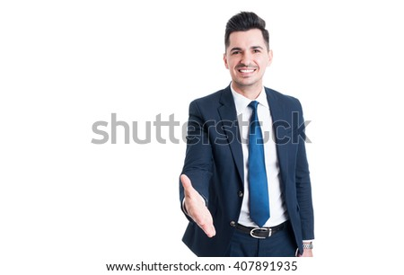 Confident smiling trustworthy and friendly sales man offer handshake isolated on white background - stock photo