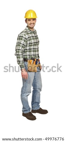 confident standing manual worker isolated on white background