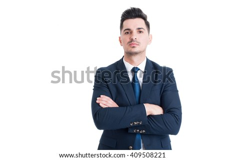 Confident successful and proud businessman with arms crossed isolated on white background - stock photo