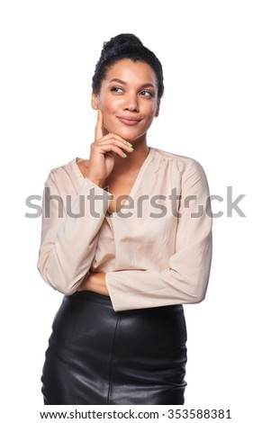 Confident successful mixed race caucasian - african american business woman standing smiling looking away at blank copy space - stock photo