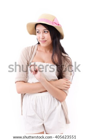confident summer lady looking sideway to blank space - stock photo