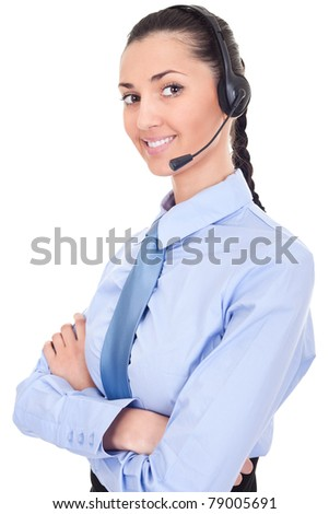 confident support phone operator in headset, isolated on white - stock photo