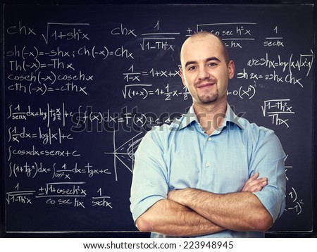 confident teacher and blackboard background