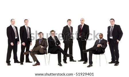 Confident team isolated on white background - stock photo