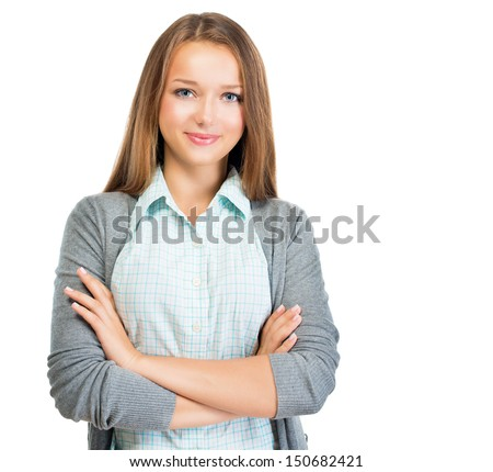 Confident Teenage Girl Portrait. Pretty Casual Student Girl isolated on White Background - stock photo