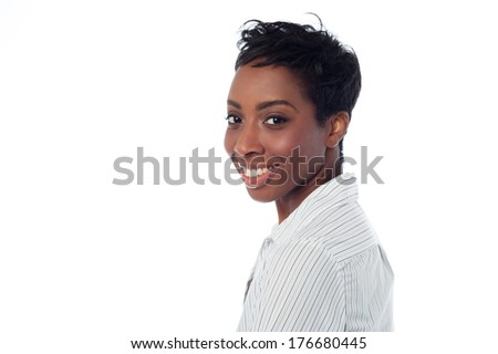 Confident woman over white background - stock photo