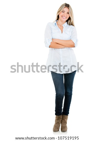 Confident woman with arms crossed - isolated over a white background