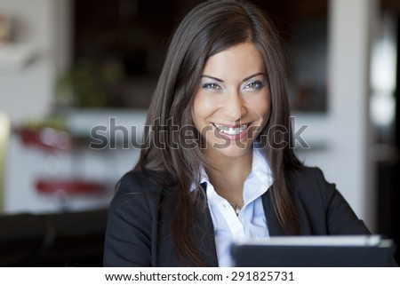 Confident Woman Working At Home - stock photo