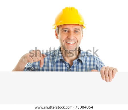 Confident worker presenting empty board - stock photo
