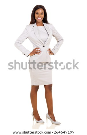 confident young african american businesswoman on white background - stock photo