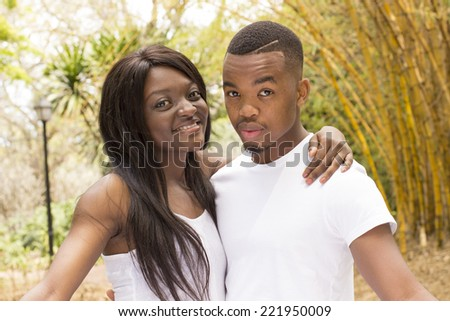 Confident Young African American Couple in the Park