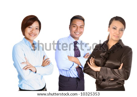 Confident young Asian business people isolated on white - stock photo