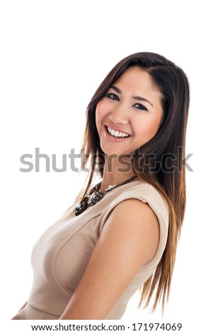 Confident young Asian businesswoman portrait isolated on a white background - stock photo