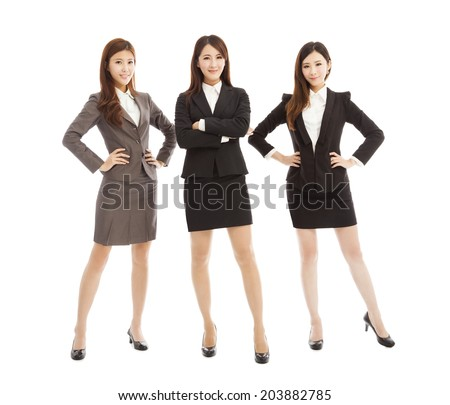 confident  young business woman team standing isolated on white  - stock photo