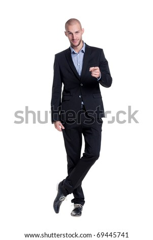 confident young businessman emotional - stock photo