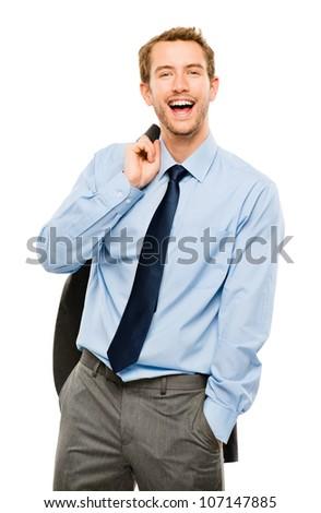 Confident young businessman holding suit jacket smiling white background - stock photo
