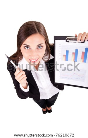 confident young businesswoman happy with her growth and success - stock photo
