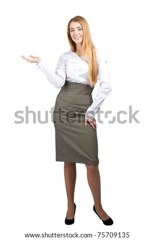 Confident young businesswoman showing something on the palm of her hand, isolated on white - stock photo