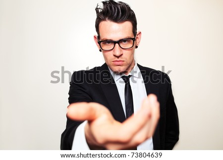 Confident young man front on shoot