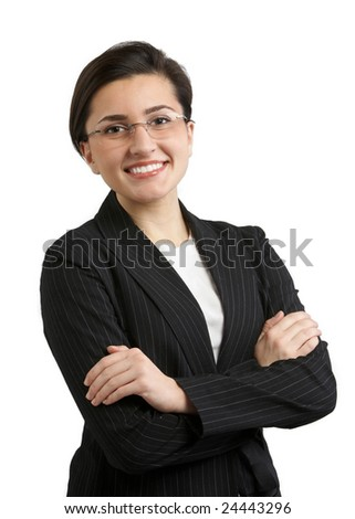 Confident young woman in business suit with great smile - stock photo