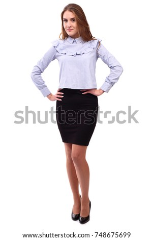 Confident young woman isolated on white background