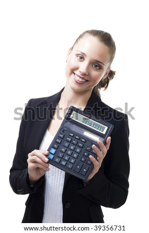 Confident young woman stand holding calculator and smile,isolated on white