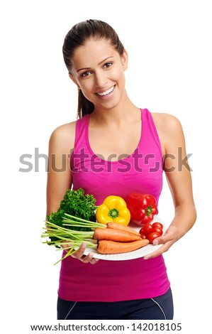 confident young woman with healthy vegetarian food diet - stock photo