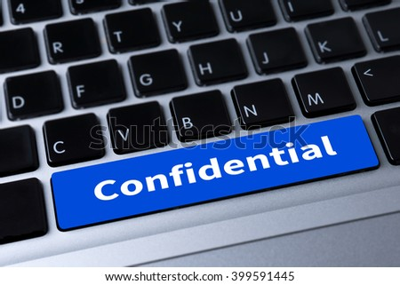 Confidential Concept  a message on keyboard - stock photo