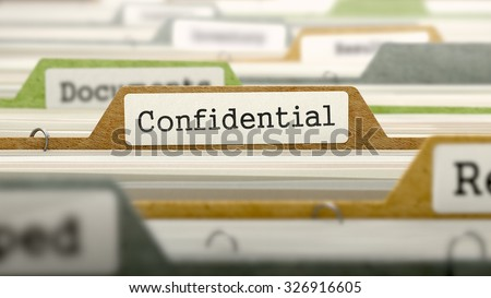 Confidential Concept. Colored Document Folders Sorted for Catalog. Closeup View. Selective Focus. - stock photo