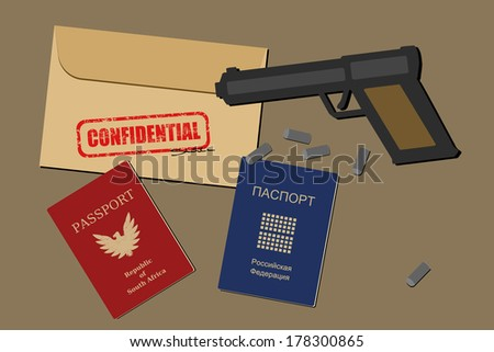Confidential documents, falsified passports, gun and bullets - spy objects and espionage equipment illustration - stock photo