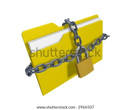 Confidential files (3d rendered folder with padlock and chain over white background) - stock photo