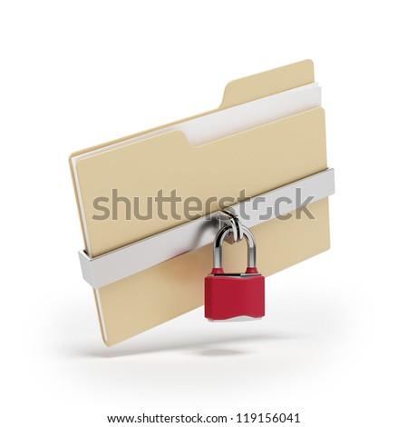 Confidential files. Padlock on folder - stock photo
