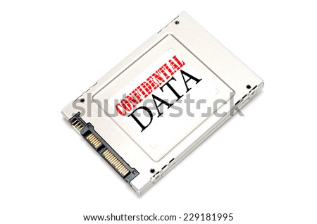 Confidential information on Solid State Disk concept - stock photo