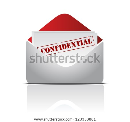 confidential mail illustration design over s white background - stock photo