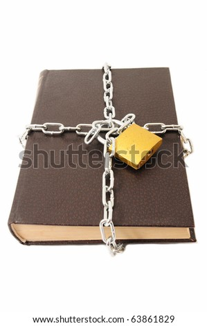 Confidential old book locked padlock