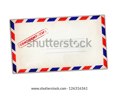Confidential rubber stamp on white envelope. - stock photo