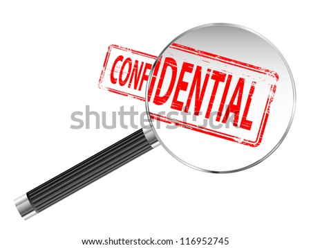 Confidential rubber stamp under a magnifying glass - stock photo