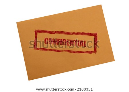 Confidential stamp on envelope with clipping path - stock photo