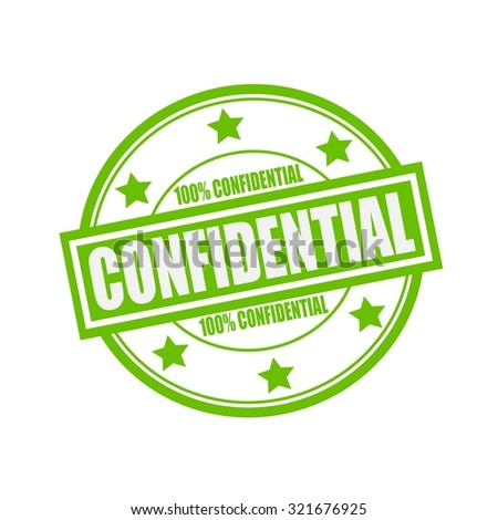Confidential white stamp text on circle on green background and star