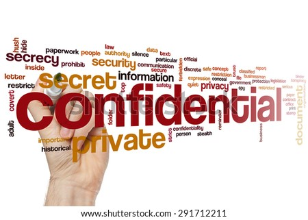 Confidential word cloud concept - stock photo