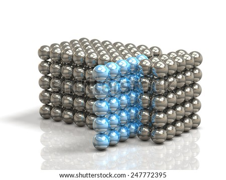 Configured tissue with ball metal.isolated, computer generated image. - stock photo