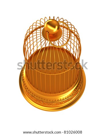 Confinement: Golden birdcage isolated over white background