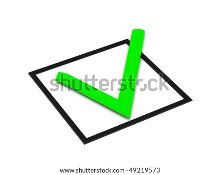 confirm check mark isolated on white background. High quality 3d render. - stock photo