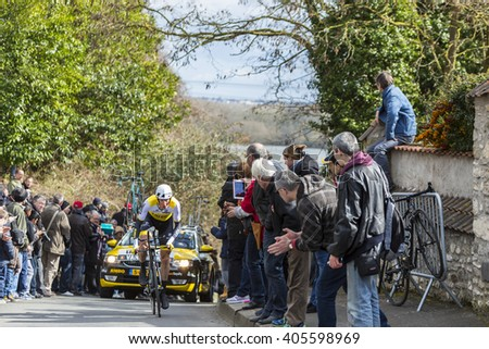CONFLANS-SAINTE-HONORINE,FRANCE- MARCH 6: The Belgian cyclist Sep Vanmarcke of Lotto NL-Jumbo Team riding during the prologue stage of Paris-Nice in Conflans-Sainte-Honorine,on March 6 2016.