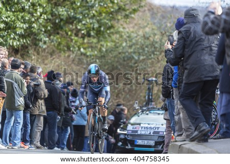 CONFLANS-SAINTE-HONORINE,FRANCE- MARCH 6:The British cyclist Ben Swift of Team Sky riding during the prologue stage of Paris-Nice in Conflans-Sainte-Honorine,on March 6 2016.