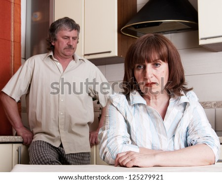 Conflict adults couple. Problems in family. Divorce between man and woman - stock photo