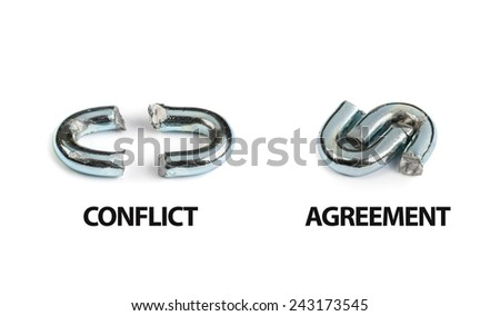 conflict and agreement concept on white background - stock photo